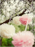 "Free shipping 50pcs 35cm/14"" Tissue Paper Pom Poms Wedding Party Home Decor Craft"