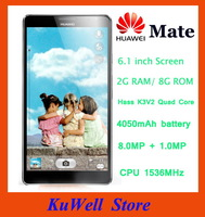 "Original Huawei Mate MT1-U06 quad core 1.5GHz smart phone 6.1"" 1280*720 IPS android 4.1 2GB+8GB 3G 4050mAh  free shipping !"