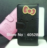 Flip Bowknot Hello kitty Leather Case for iphone 5 5G with Stand + Card Slot + retail box+ Free shipping