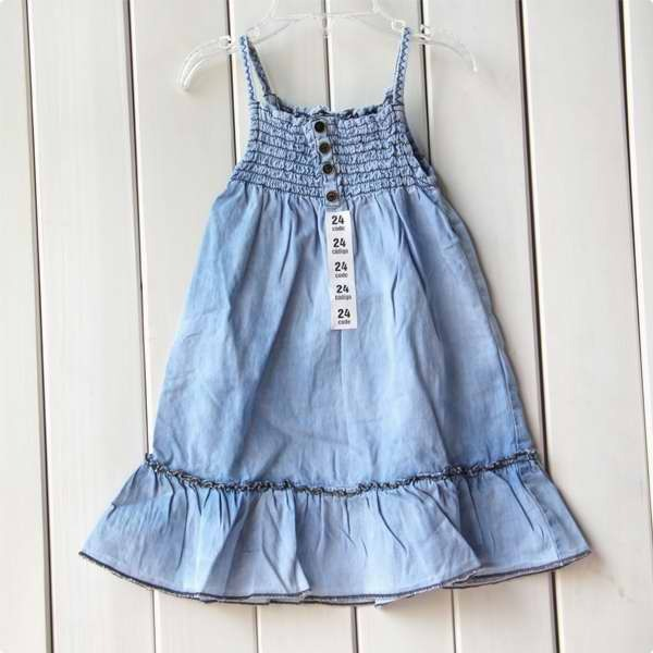 Children's clothing children summer dresses soft denim spaghetti strap small western dress one-piece dress 897(China (Mainland))