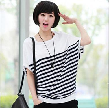kareo style navy wind summer wear loose black and white stripes round collar shirt(China (Mainland))