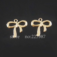 Free shipping 30pcs Jewelry Findings  KC gold Alloy  bowknot pendant charms
