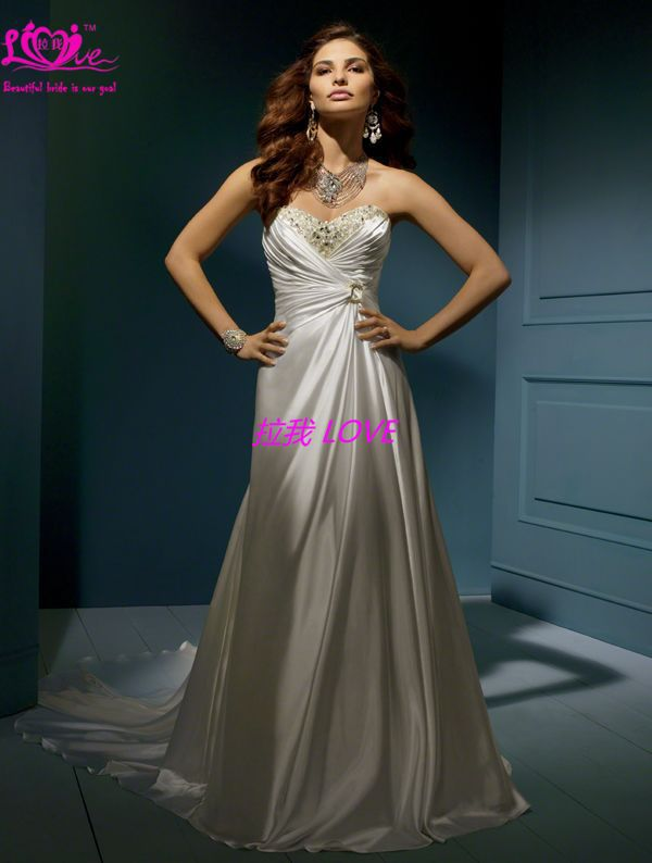 latest casual destination court train custom size crystals sweetheart silk charmeuse bride wedding gowns(China (Mainland))