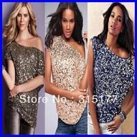 Free shipping Seductive Off-shoulder Glistening Sequin Top 2013 Women Club Top Sexy Clubwear Wholesale 10pcs/lot Mix order 25078