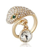 Luxury 18K Gold White Gold Plated Snake Crystal Rhinestone Ring fashion jewelry GPR5