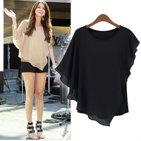 Free shipping women's chiffon shirts with ruffles design batwing sleeve short sleeve o-neck solid batwing shirts women top D108