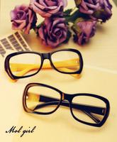 Non-mainstream eyes box vintage big black the box eyeglasses frame myopia leopard print glasses plain mirror