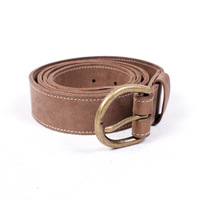 Handmade double layer cowhide strap genuine leather belt single-circle pin buckle round buckle wide belt unisex