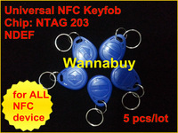 5 pcs/Lot,universal NFC keyfob with chip NTAG203,frequency13.56 MHZ,preformatted NDEF type2,ready to be used for all NFC device