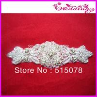bridal sash applique,rhinestone crystal applique, beaded belt sash trim, wedding accessories