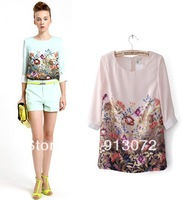 Женские блузки и Рубашки ST184 New fashion womens' Cute Robot Print chiffon blouse elegant casual designer shirts stand collar long sleeve cool tops
