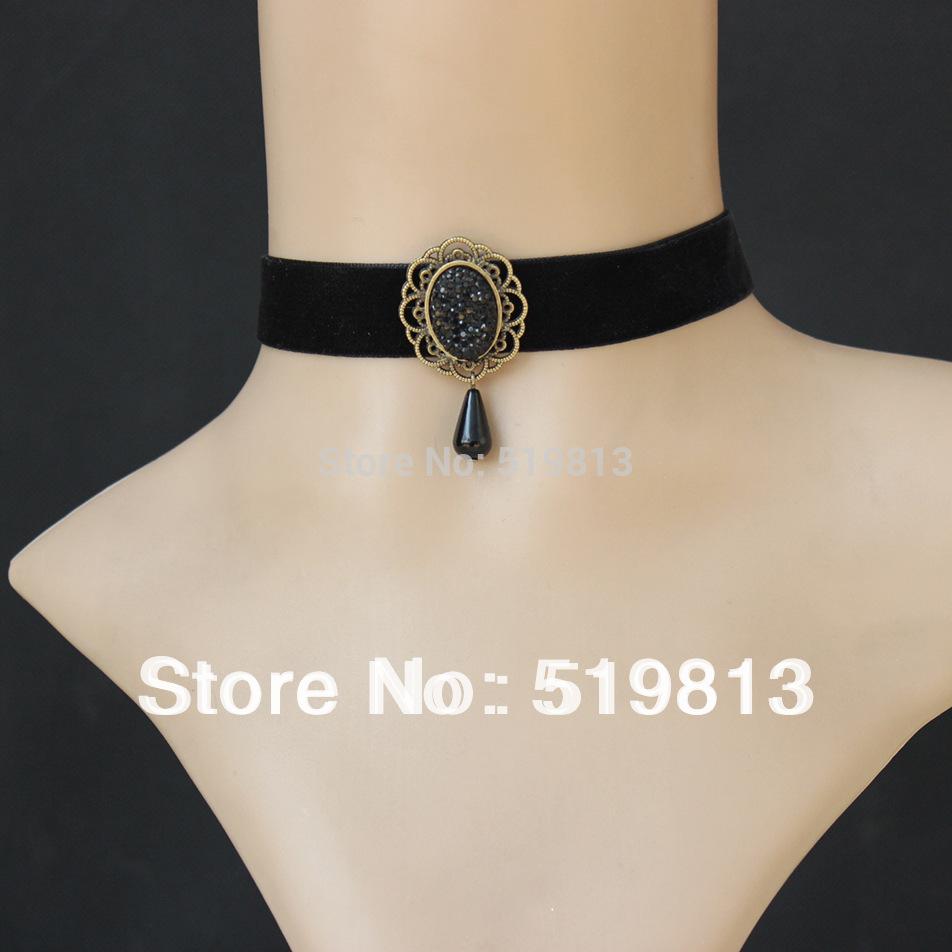 N479 WHOLESALE bead naruto necklace Vintage velvet strip choker Fashion steampunk jewelry elegant collar necklace(China (Mainland))