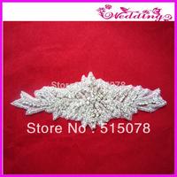 Braided Bridal Sash Silver  Beaded Crystal Rhinestone Applique