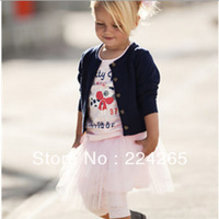 100% Cotton Girls' Suits Girls' 3 pieces suits Girl's Cardigan outerwear+ short sleeve printing T-shirt + Tutu dress skirt