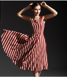 2013 LONG SLEEVELESS STRIPES CHIFFON DRES ,1256(China (Mainland))