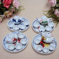 Elegant Chinese Ceramic cups Tea time toy mini tea set ceramic toy ceramic small tea child tea set  Freeshipping