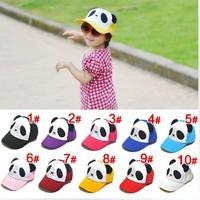 2013 New Arrival Baby Panda Bear Sun Hat fashion Baseball Hats Kids Summer snapback Caps Big Brim Sunbonnet,10 Colors 5 pcs/lot