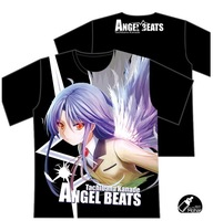 Free Shipping Anime Angel Beats Clothing Tachibana Kanade Black T-shirt Short Sleeve Cosplay Costumes