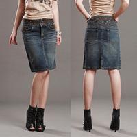 2013 in high waist of the 100% cotton cloth embroidered vintage after placketing midguts water wash denim slim medium skirt bust