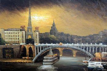 Paris River Seine Boats Eiffel Tower Bridge 24X36 France Stretched Oil Painting
