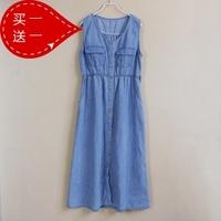 2013 spring denim blue buckle sleeveless vest one-piece dress full dress