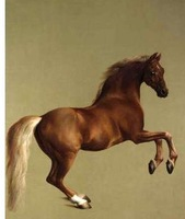 "100% Handicrafts Art animal oil painting running red horse 24x36"" on canvas"
