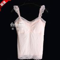 Modal all-match solid color belt spaghetti strap pad lace decoration slim spaghetti strap top female bra small vest