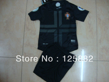 14 portugal away black kid kit, soccer football jersey,children soccer uniforms,size:16-28