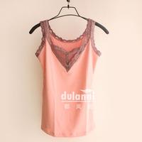 2013 spring transparent lace button decoration V-neck vest basic shirt Women slim small vest