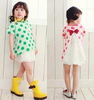 Free shipping New Fashion baby Girl Children's Red/Green  Dot Chiffon bowknot  T-shirt ,kids girl's wear / Children's clothing