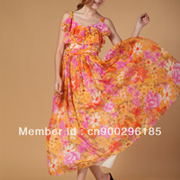 New fashion stylish brand high quality ladies dresses, hot sale butterfly  chiffon long dresses for women,free shipping