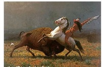 100% Handicrafts Art oil painting The Last battle of the Buffalo & horse 24x36""