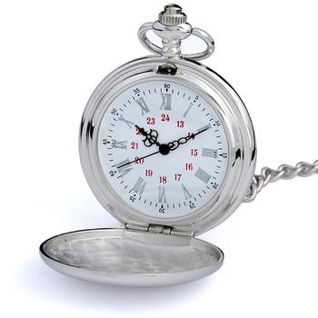 Watch pocket watch single necklace glossy silver roman numerals quartz watch