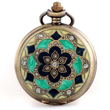 Trend women's noble classic flip rhinestone mechanical watch cutout vintage pocket watch necklace watch