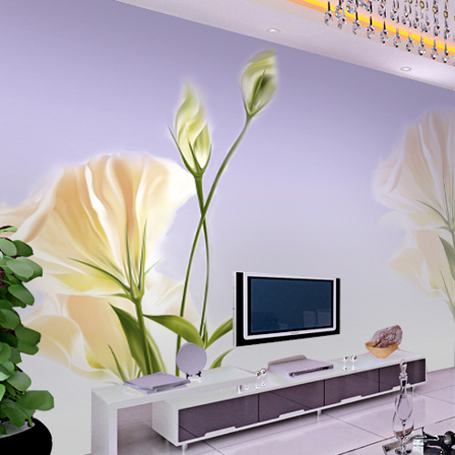 Mural wallpaper tv sofa background wall brief flowers fresh natural(China (Mainland))