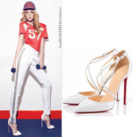 Laides Red Bottom High Heels Pointed Toe Women Pumps High Heel Shoes Woman Female With Ankle Strap Size 35-40 JJM222-7