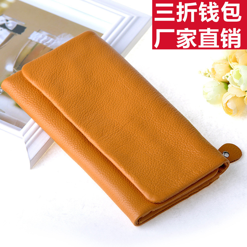 free shippingFactory wholesale ladies leather long wallet fold first layer of leather women&#39;s wallet wallets multi-card bit Kore(China (Mainland))