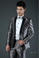 Free Shipping! 2013 new style fashion suits or men wedding suit silver grey brand men tuxedo two pieces coat + pants