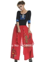 Women cotton embroidery casual Feet wide leg length pants