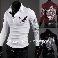 2013 Free shipping spring autumn men's long sleeve shirts polo shirt men fashion casual polo shirt POLO white balck red XXL