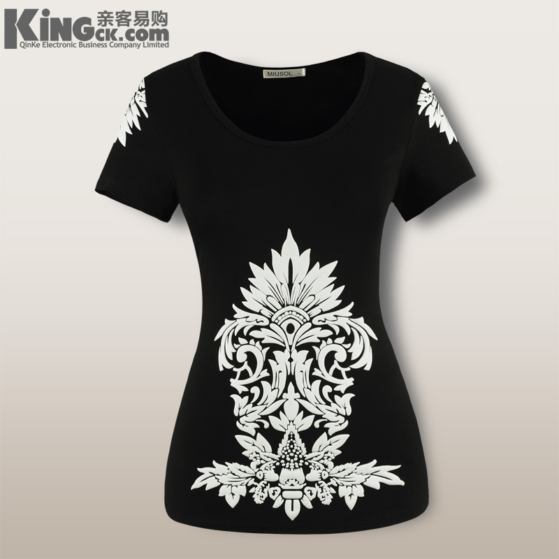 2013 summer classic print o-neck short-sleeve T-shirt plus size clothes women&#39;s slim short-sleeve t shirt lady Tee Tops(China (Mainland))
