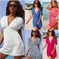 14 color free delivery of new women deep V neck ice silksand beach Bikini beach sexy dress to wear
