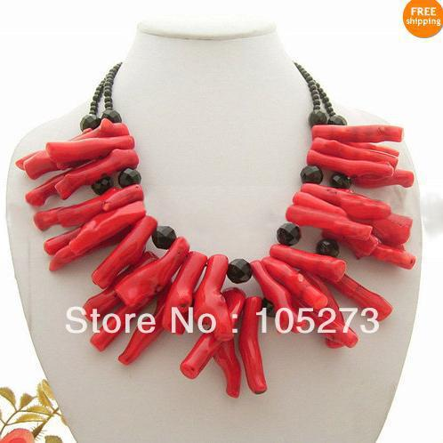 New Arriver Gem Stone Jewellery Natural Black Onyx Beads Red Coral 3-40mm 18-20&#39;&#39; Fashion Jewelry Necklace New Free Shipping(China (Mainland))