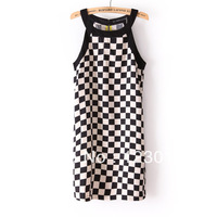 2013 Autumn -Summer New Fashion Brand Za** Women Same Paragraph Black and White Checks Sleeveless Vest Sexy Casual Dress