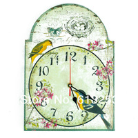 American Pastoral Style Wall Clock /  Wooden Wall Clock / Wall Decor.Flower And Bird Pattern ID:A0107300