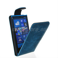Free shipping high-grade fine FLIP bag style leather case cover + screen protector Nokia 920 Lumia 920 blue