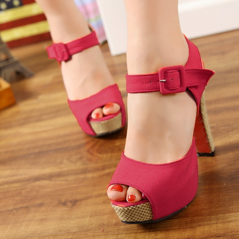 Hot selling summer fashion women open toe platfrom sandals ladies quality suede ankle strap high heels sandals red bottom shoes(China (Mainland))