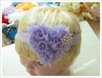 8pcs (3inch Heart Shabby Chiffon Flower + 0.7inch Elastic Headband) Baby Girl's Hair Accessories