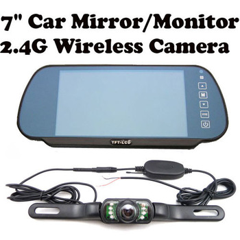 7 inch car rearview mirror system with wireless car license ir camera