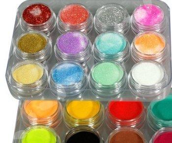 24Colors 3D Nail Art Glitter Acrylic Powder Decoration